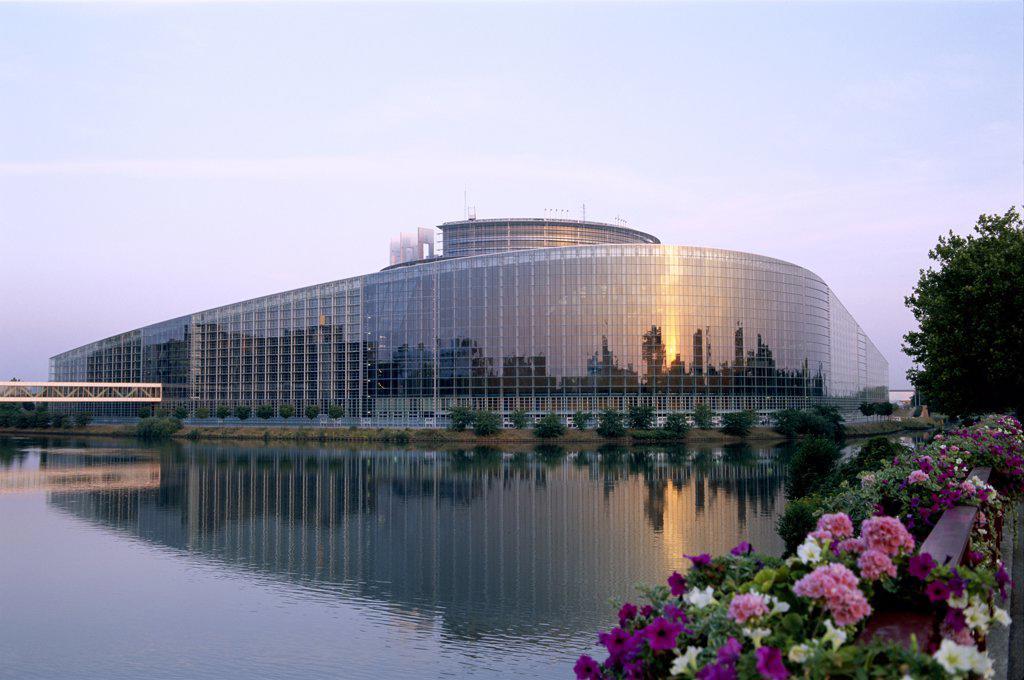 European Parliament Building, Palais de l'Europe, Strasbourg, Alsace, France : Stock Photo