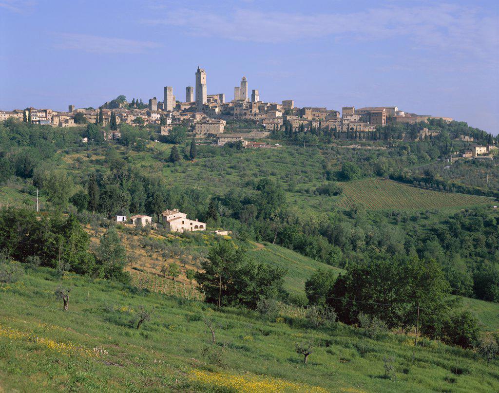 Medieval Town Skyline, San Gimignano, Tuscany, Italy : Stock Photo