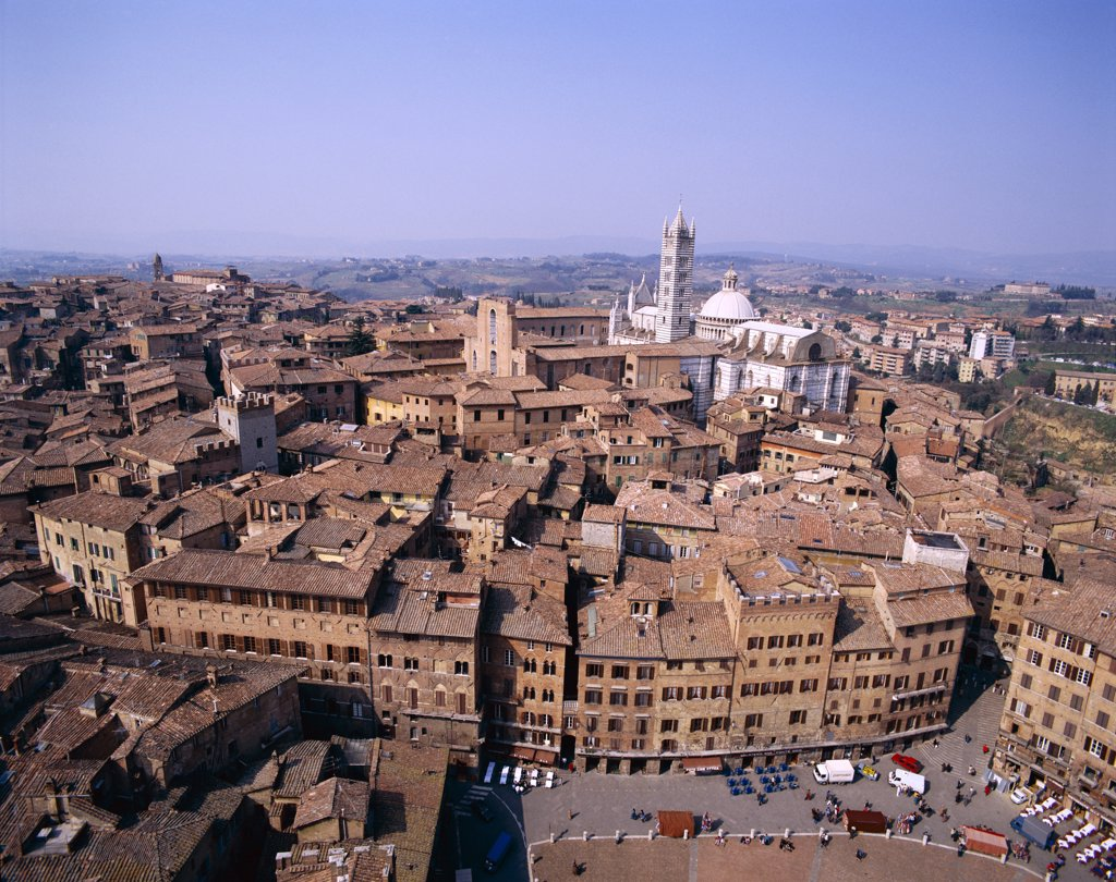 Stock Photo: 442-8445 View from Torre del Mangia, Piazza del Campo, Siena, Tuscany, Italy
