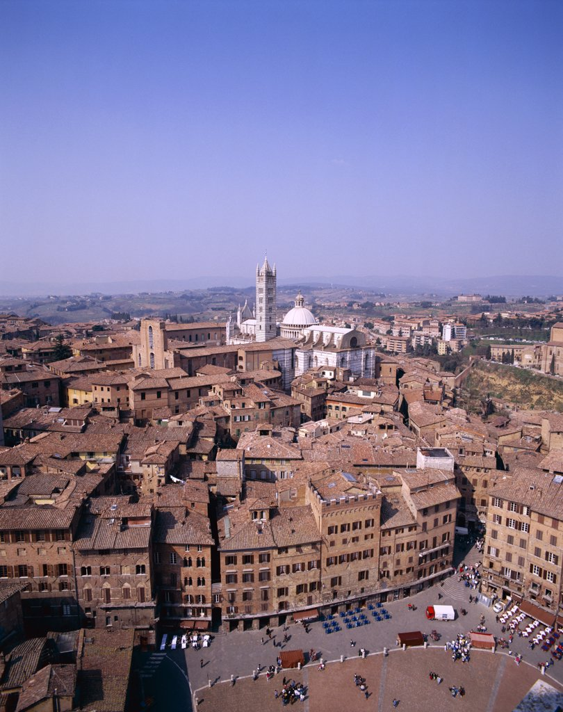 View from Torre del Mangia, Piazza del Campo, Siena, Tuscany, Italy : Stock Photo