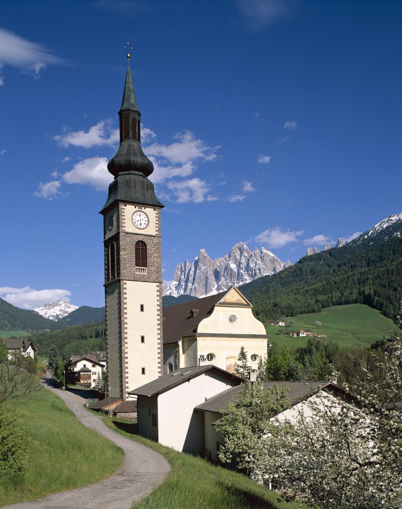 St. Peter's Church, Dolomites Mountains, Villnoss, Val di Funes, Trentino, Italy : Stock Photo