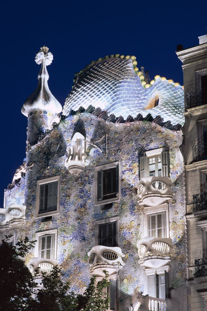 Stock Photo: 442-8541 Night, Casa Batllo by Antoni Gaudi, Barcelona, Catalonia, Spain
