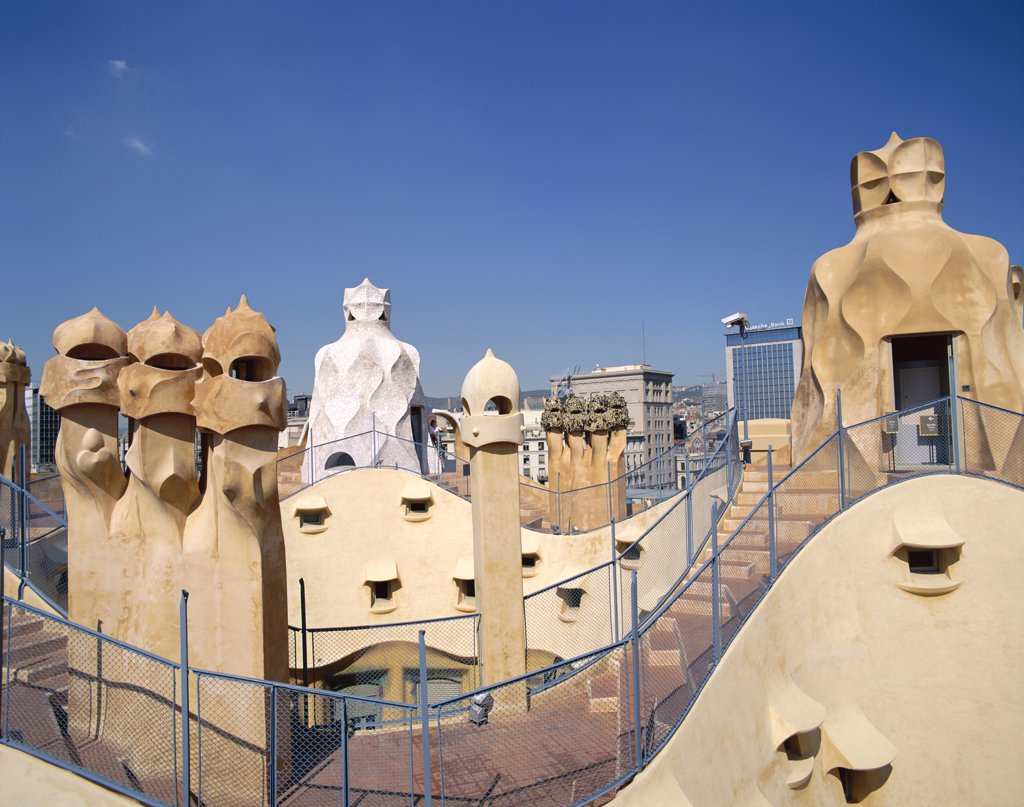 Rooftop Chimneys, Casa Mila (La Pedrera) by Antoni Gaudi, Barcelona, Catalonia, Spain : Stock Photo