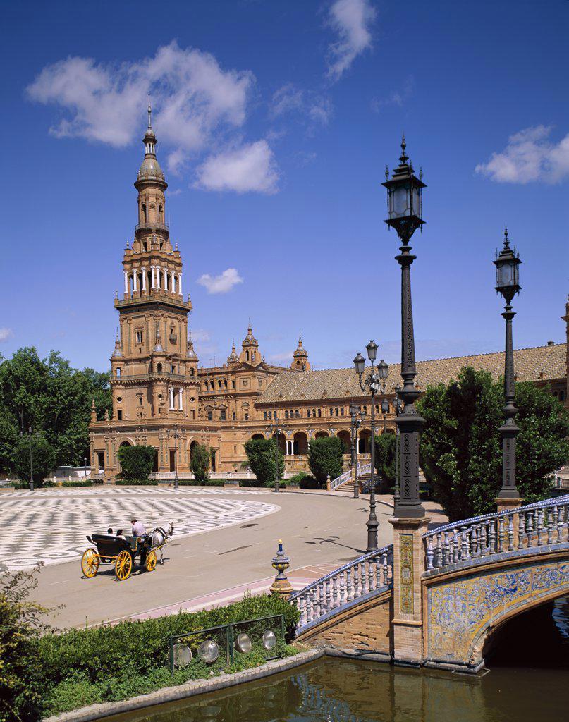 Cathedral and La Giralda, Plaza de Espana, Seville, Andalusia, Spain : Stock Photo