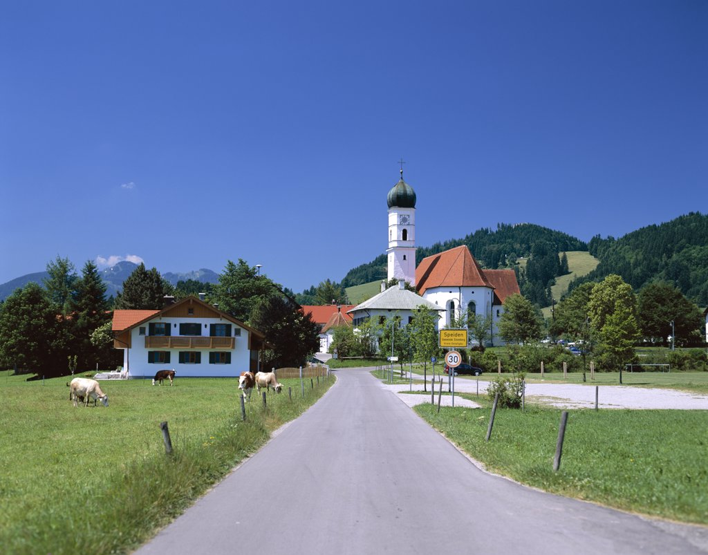 Road with Church, Speiden, Bavaria, Germany : Stock Photo