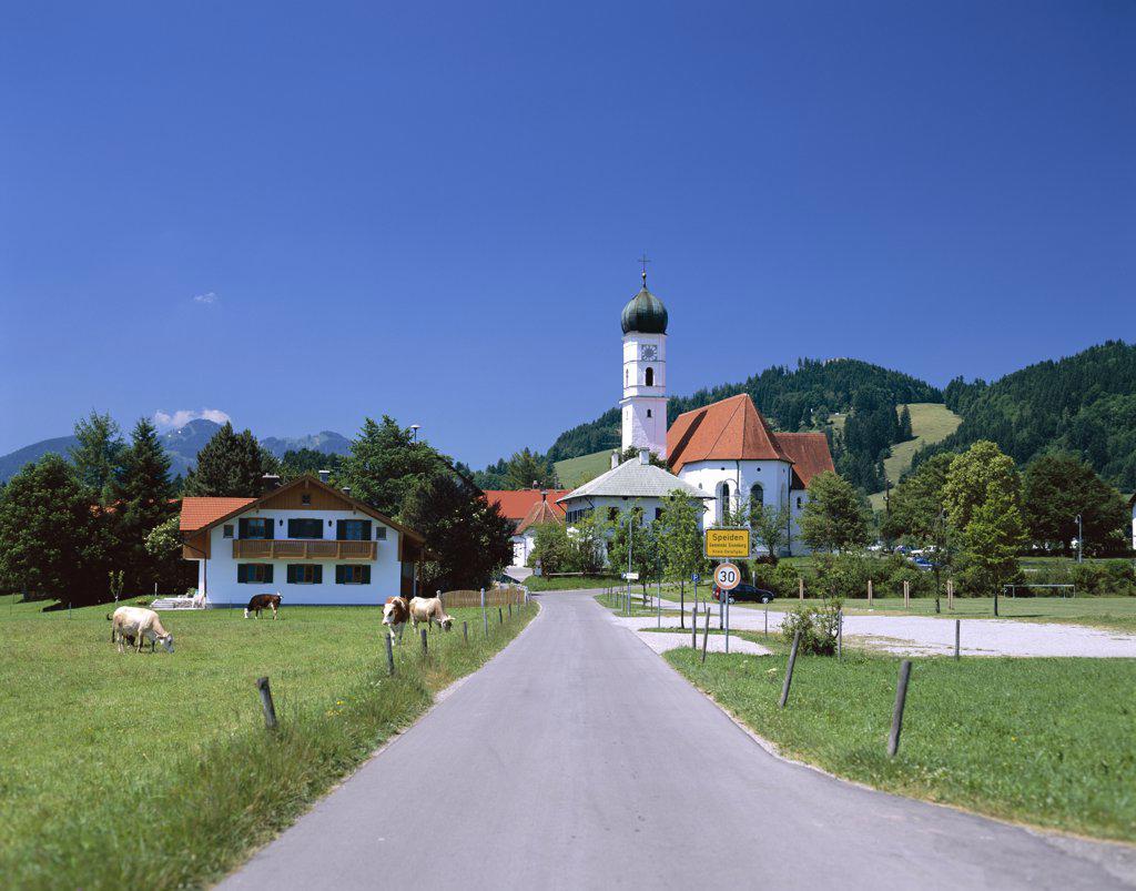 Stock Photo: 442-8663 Road with Church, Speiden, Bavaria, Germany