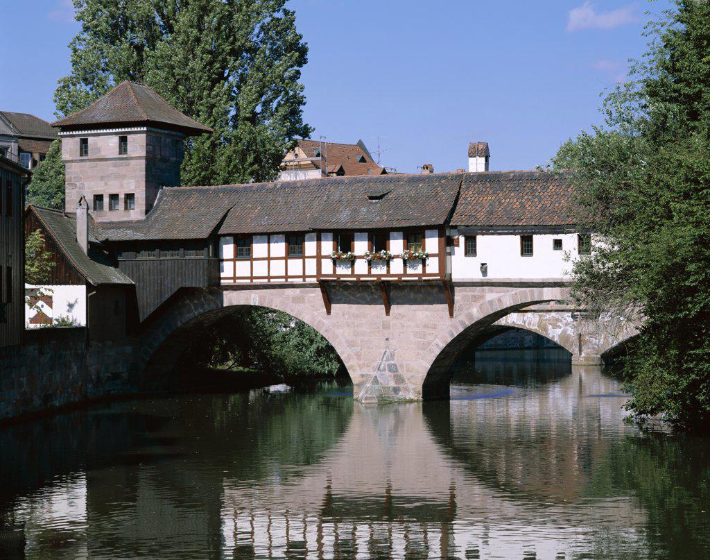 Little Bridge and Pegnitz River, Nuremberg, Franconia, Bavaria, Germany  : Stock Photo