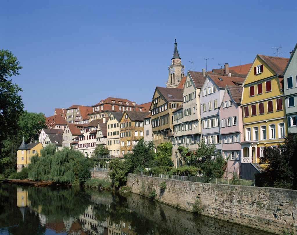 Stock Photo: 442-8812 Neckar River and Town View, Tubingen, Baden-Wurttemberg, Germany