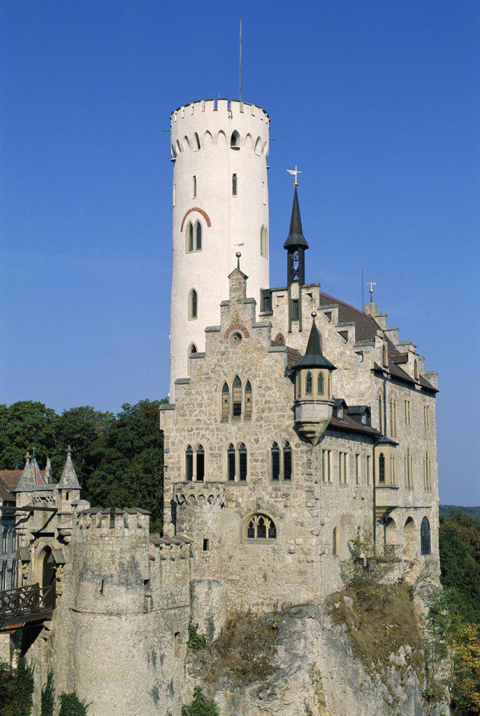 Lichtenstein Castle (Burg Lichtenstein), Lichtenstein, Baden-Wurttemberg, Germany : Stock Photo