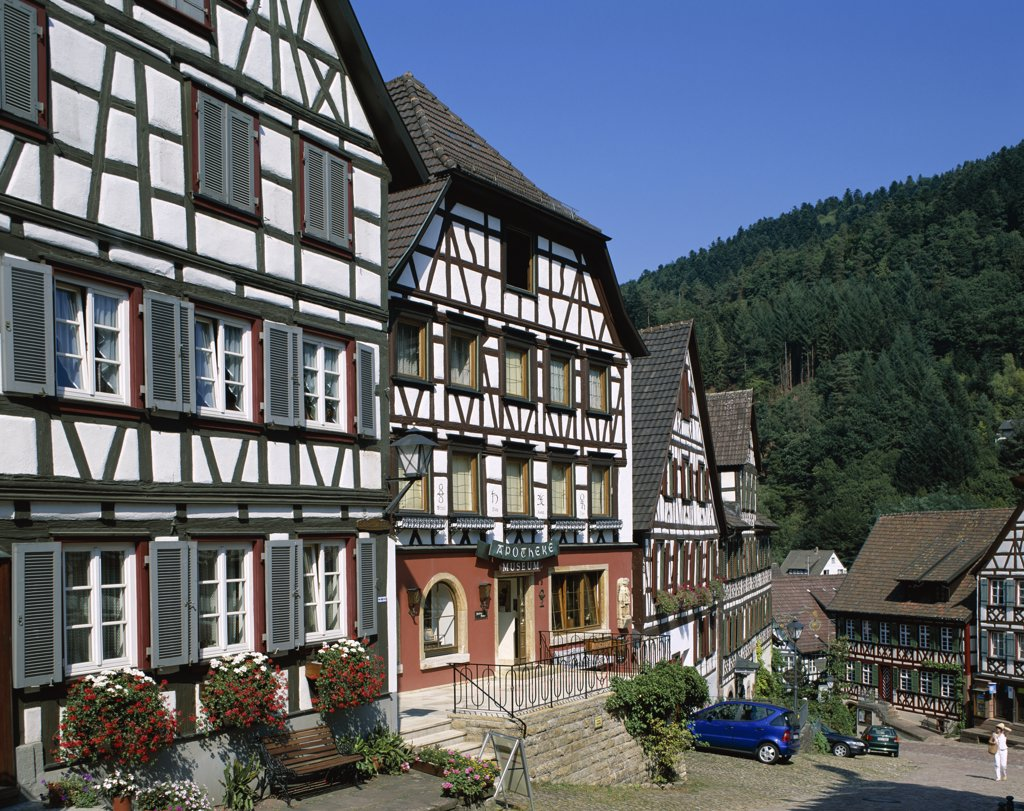 Timbered Houses, Black Forest (Schwarzwald), Schiltach, Baden-Wurttemberg, Germany : Stock Photo