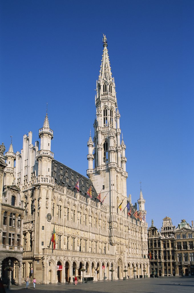 Stock Photo: 442-8838 Low angle view of the Town Hall, Grand Place, Brussels, Belgium