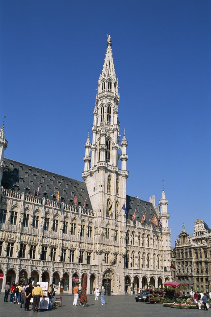 Stock Photo: 442-8842 Low angle view of the Town Hall, Grand Place, Brussels, Belgium