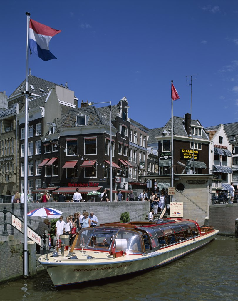 Stock Photo: 442-8876 Canal Tour Boats, Amsterdam, Netherlands