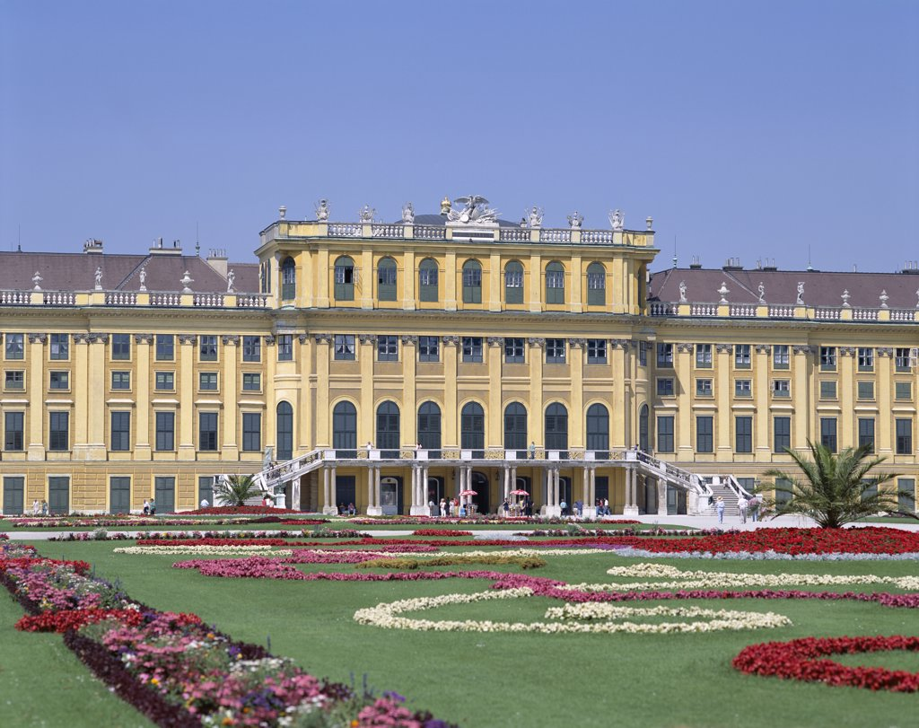 Facade of a palace, Schonbrunn Palace, Vienna, Austria : Stock Photo