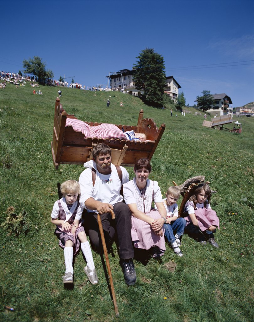 Stock Photo: 442-8954 Traditional Farming Family, Alps, Switzerland