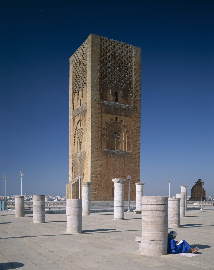 Low angle view of a tower, Hassan Tower, Rabat, Morocco : Stock Photo