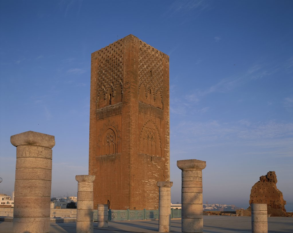 Stock Photo: 442-9024 Low angle view of a tower, Hassan Tower, Rabat, Morocco