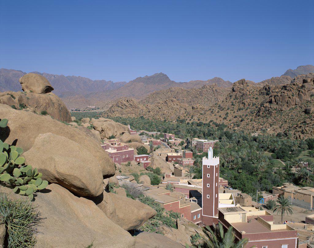 High angle view of a town, Tafraoute, Atlas Mountains, Morocco : Stock Photo
