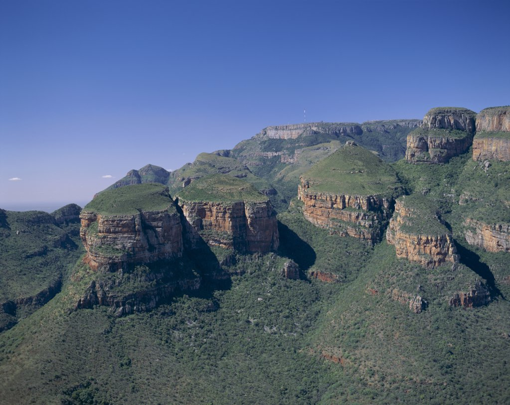 High angle view of a mountain, Three Rondavels, Drakensberg Mountains, South Africa : Stock Photo