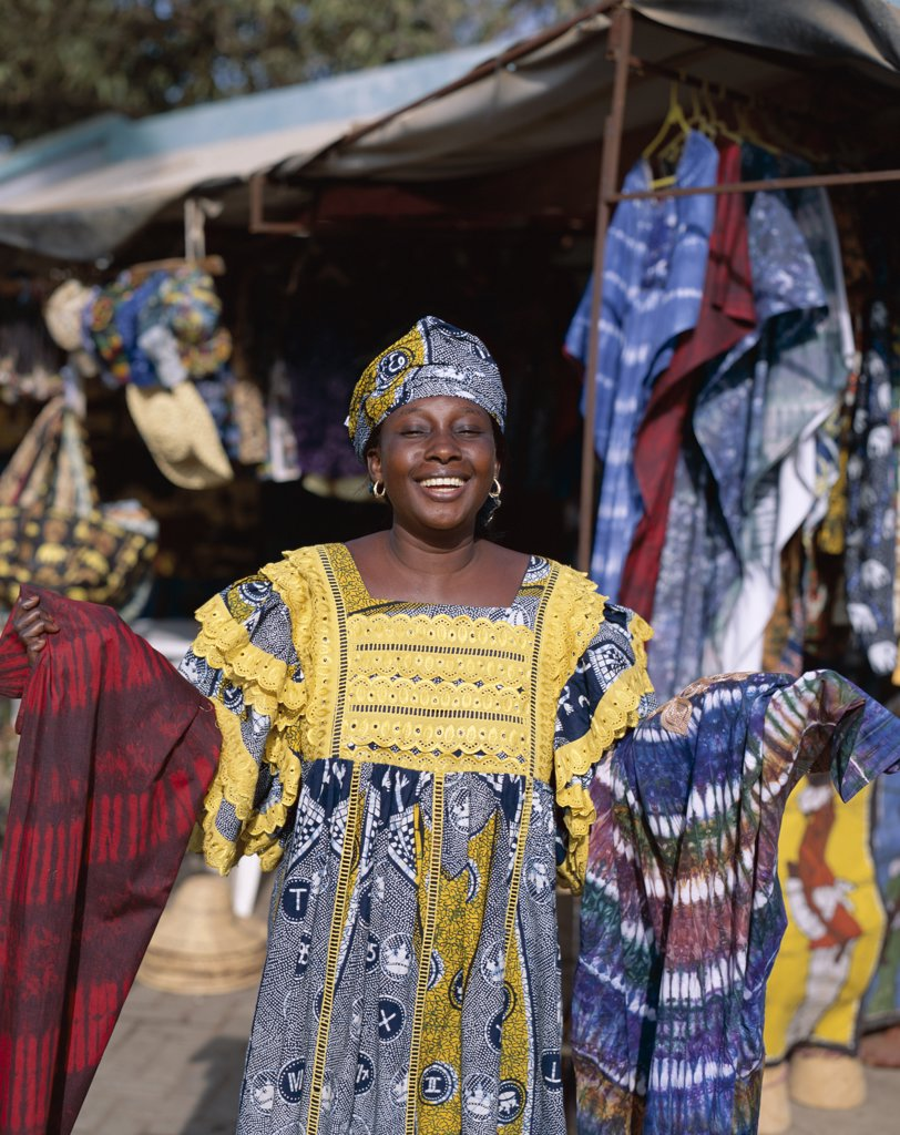 Portrait of a female Batik vendor, Albert Market, Banjul, Gambia : Stock Photo