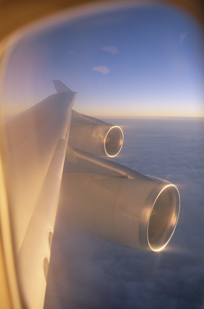 Airplane engines on a wing : Stock Photo