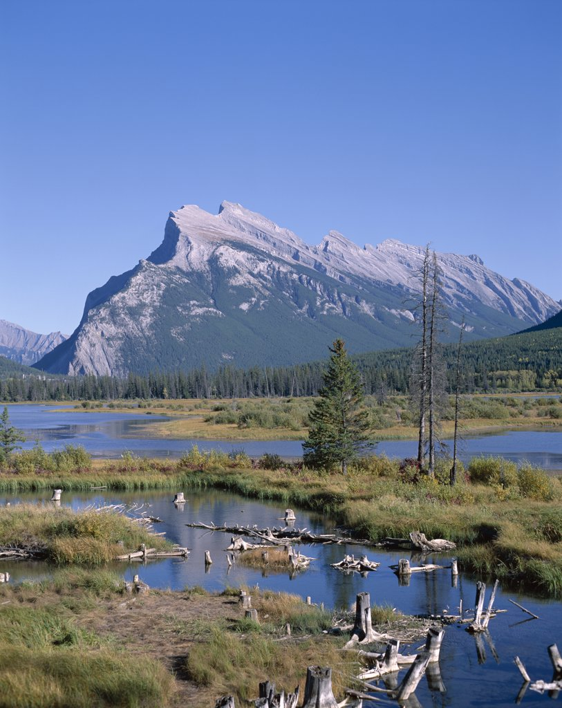 Panoramic view of a mountain, Mount Rundle, Banff, Alberta, Canada : Stock Photo