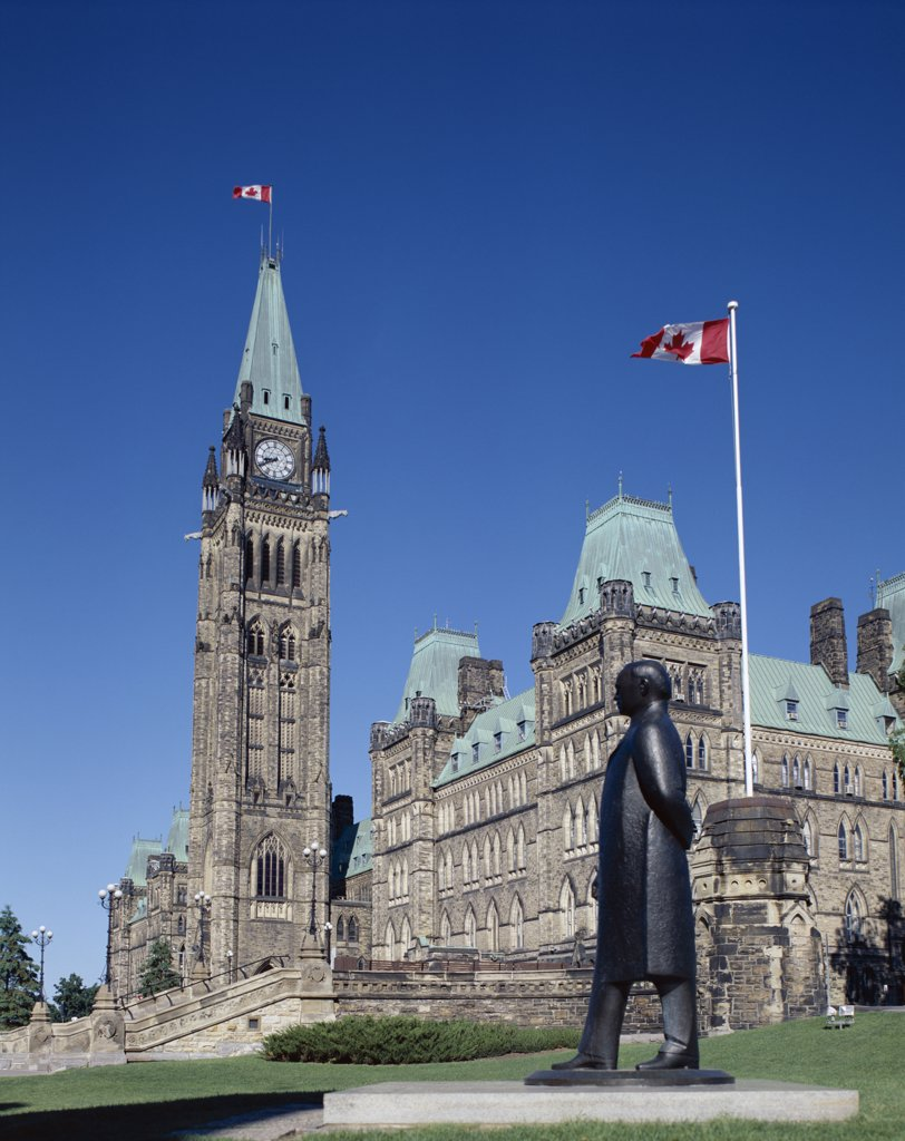 Low angle view of a government building, Parliament Hill, Ottawa, Ontario, Canada : Stock Photo