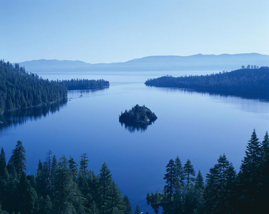 Stock Photo: 442-9140 Panoramic view of a bay, Emerald Bay, Lake Tahoe, Tahoe, California, USA