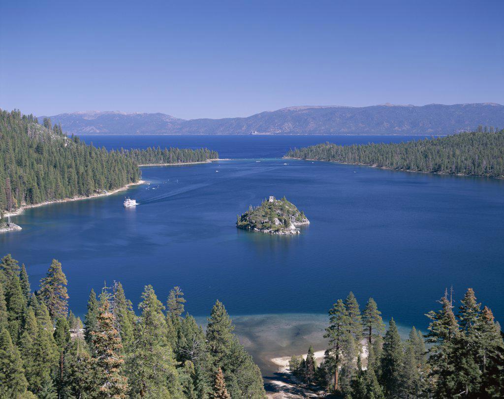 Panoramic view of a bay, Emerald Bay, Lake Tahoe, Tahoe, California, USA : Stock Photo