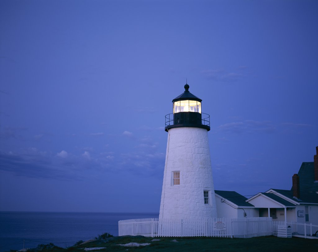 Stock Photo: 442-9184 Lighthouse lit up at dusk, Pemaquid Point Lighthouse, Pemaquid Point, Maine, USA