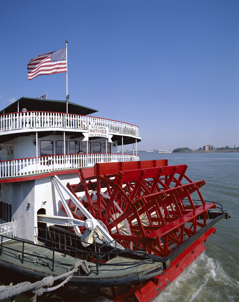Stock Photo: 442-9195 Steamboat on a river, Natchez Steamboat, Mississippi River, New Orleans, Louisiana, USA