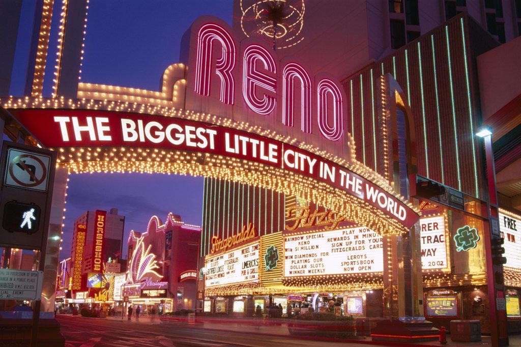 Stock Photo: 442-9209 Buildings lit up at night, Las Vegas, Nevada, USA
