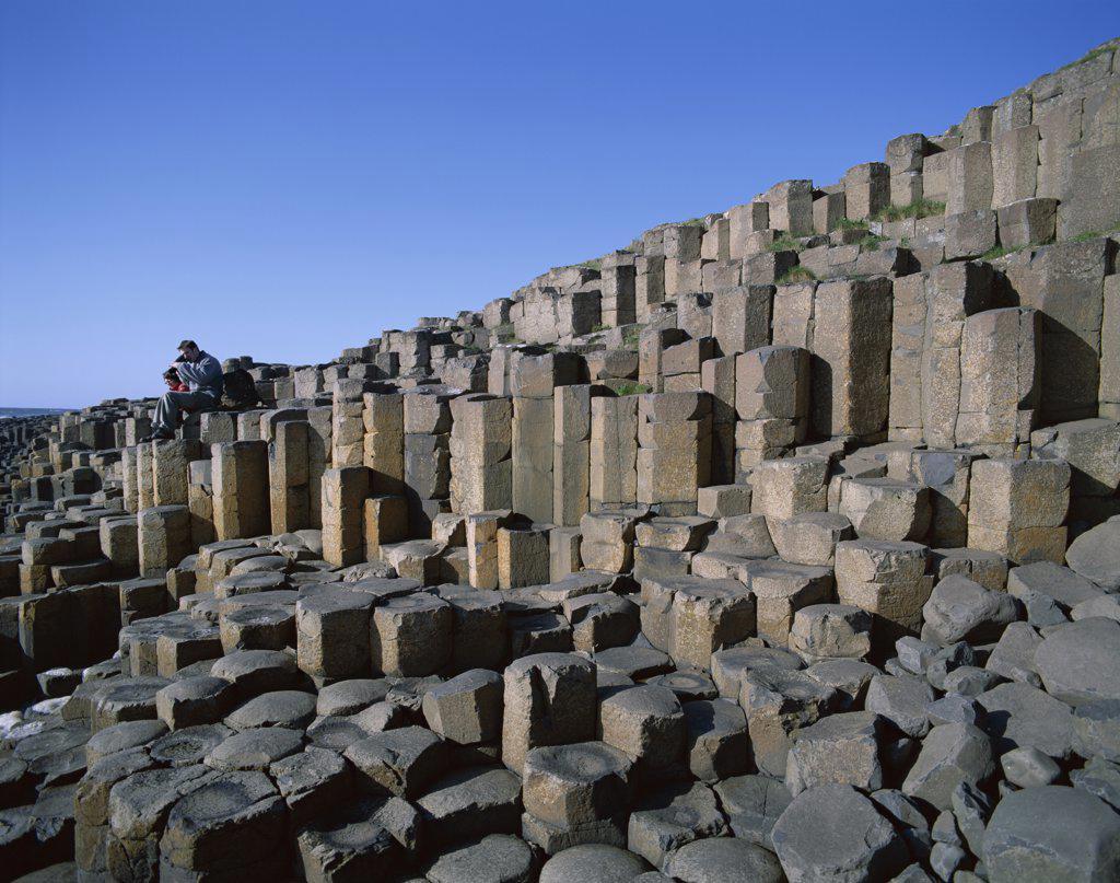 Rocks on the coast, Giants Causeway, County Antrim, Northern Ireland : Stock Photo