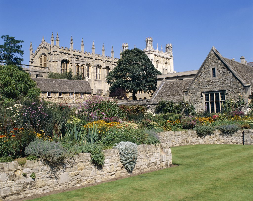 Garden in front of Christchurch College, Oxford, Cambridgeshire, England : Stock Photo