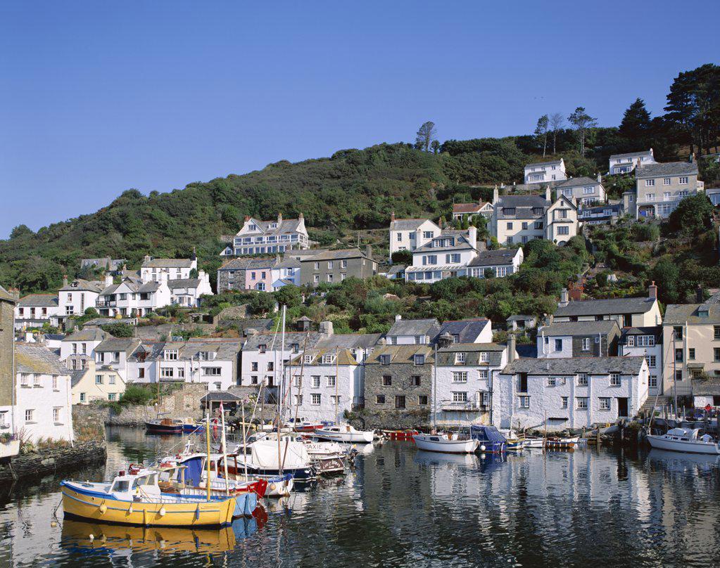 Stock Photo: 442-9399 Fishing boats in a harbor, Polperro, Cornwall, England