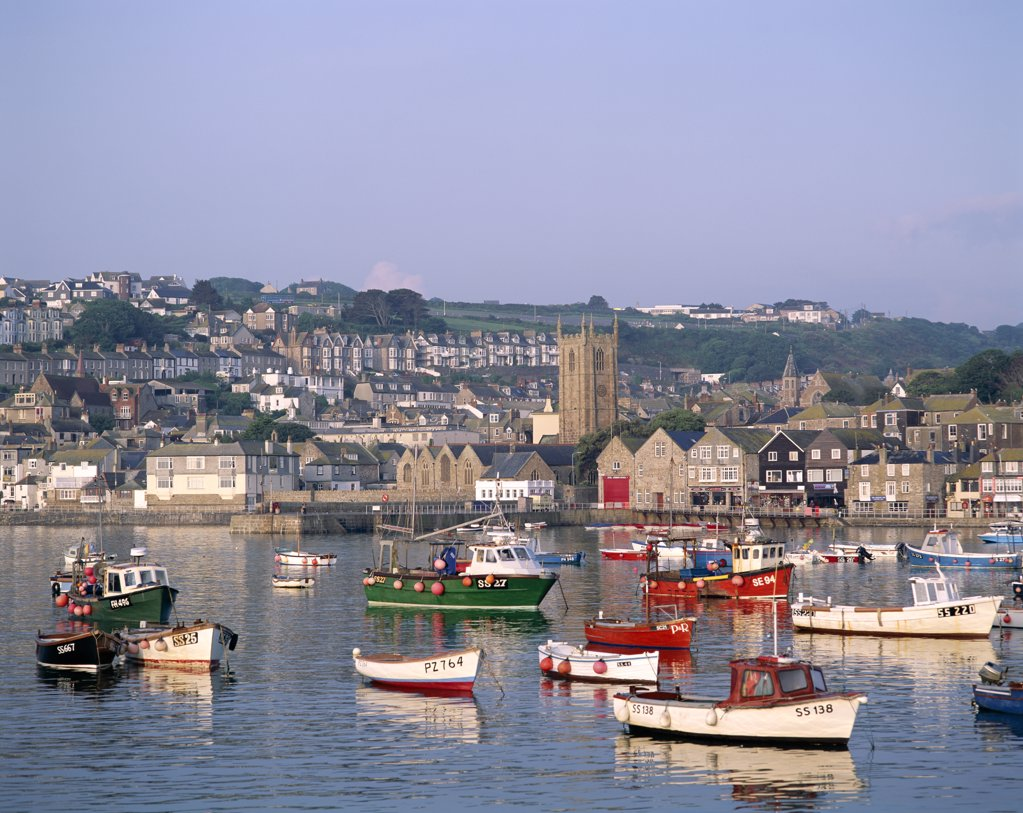 Stock Photo: 442-9406 Boats in a harbor, St. Ives, Cornwall, England