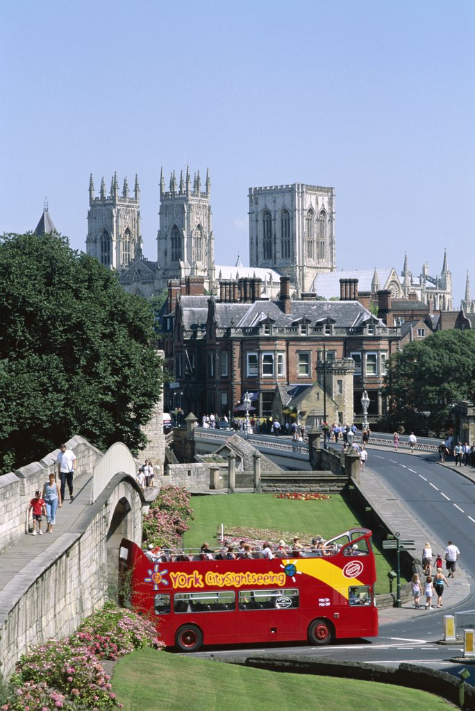 Stock Photo: 442-9416 High angle view of an open-air bus, York Minster Cathedral, York, North Yorkshire, England