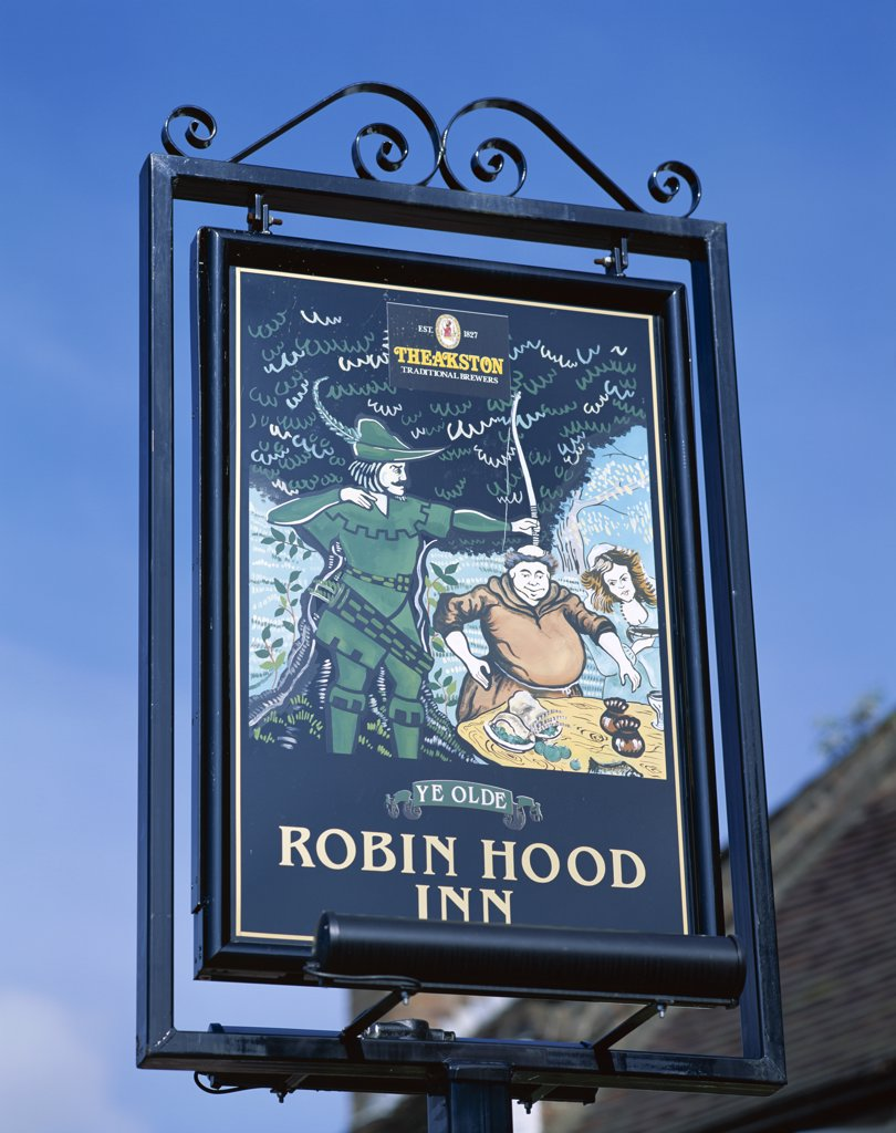 Stock Photo: 442-9456 Low angle view of the Robin Hood Inn sign board, Nottingham, Nottinghamshire, England
