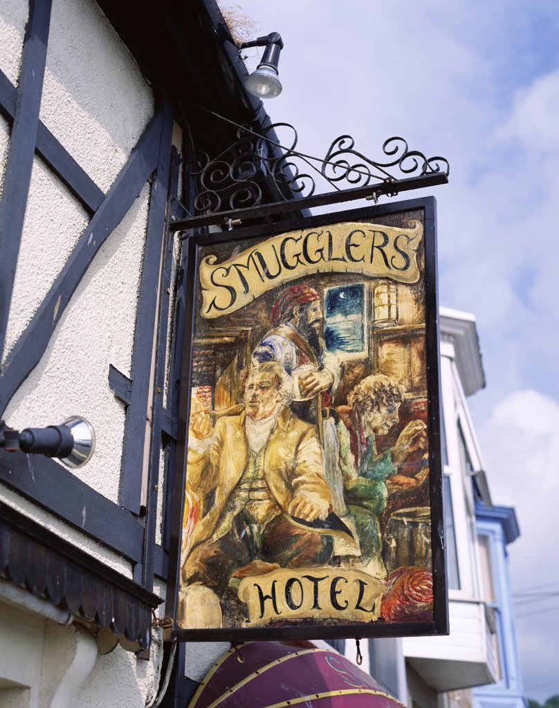 Stock Photo: 442-9458 Low angle view of the Smugglers Hotel sign board, Newlyn, Cornwall, England