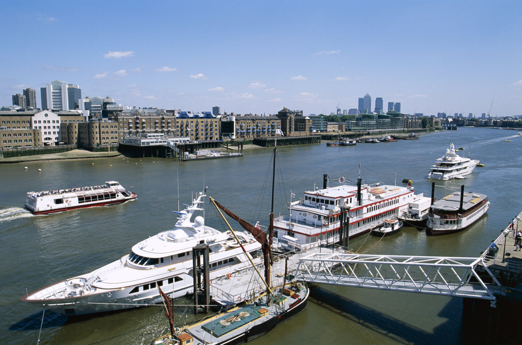 Stock Photo: 442-9571 High angle view of boats on the Thames River, London, England