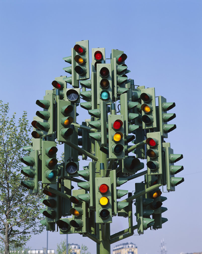 High section view of traffic lights, Docklands, London, England : Stock Photo