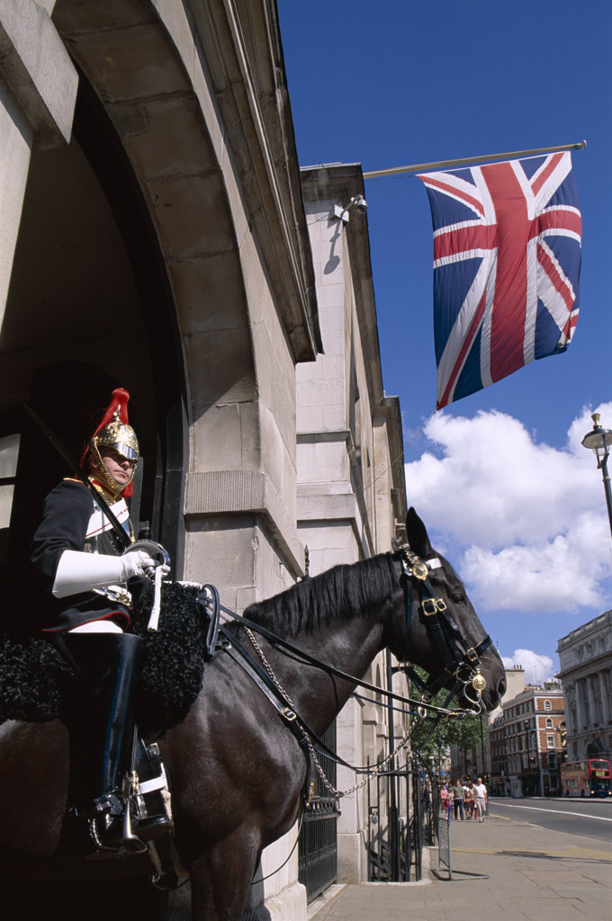 Low angle view of a horse guard, London, England : Stock Photo