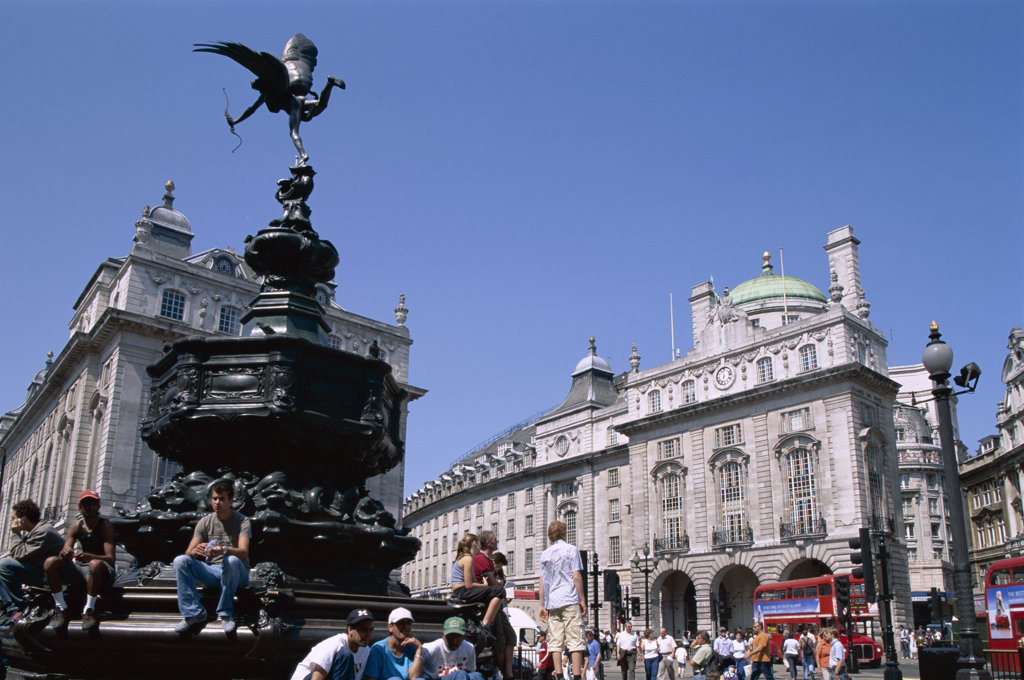 Low angle view of the statue of Eros, Piccadilly Circus, London, England : Stock Photo
