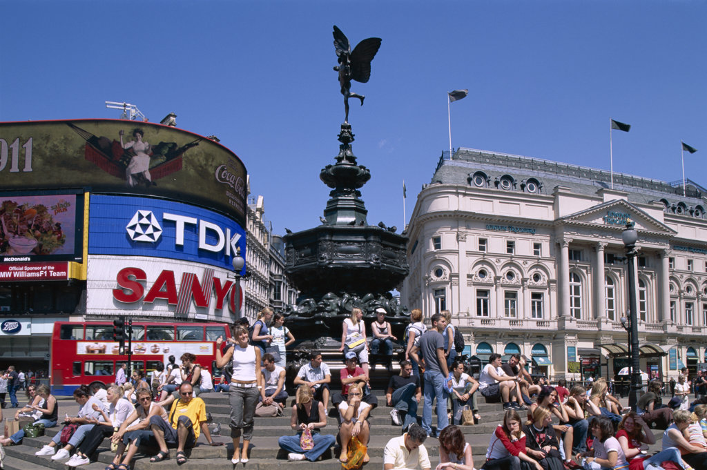 Stock Photo: 442-9601 Low angle view of the statue of Eros, Piccadilly Circus, London, England