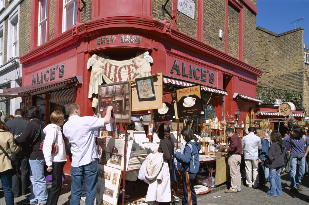 Stock Photo: 442-9614 People at Portobello Road Antique Market, London, England