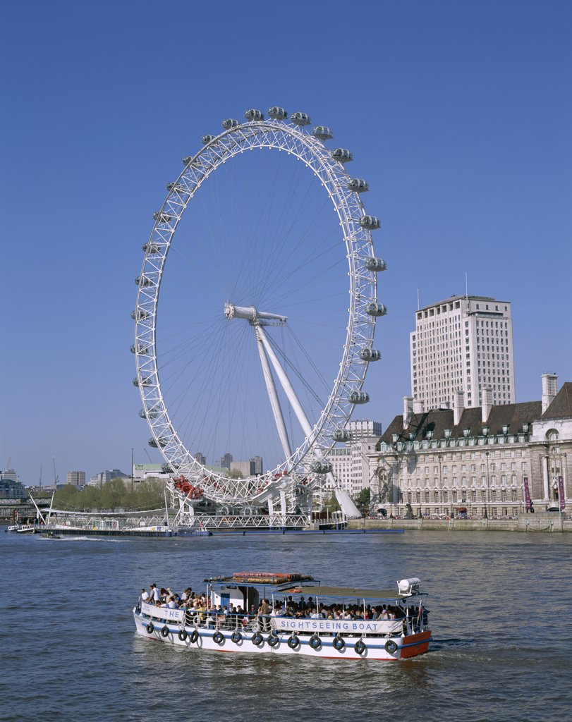Tour boat in Thames River, London Eye, London, England : Stock Photo