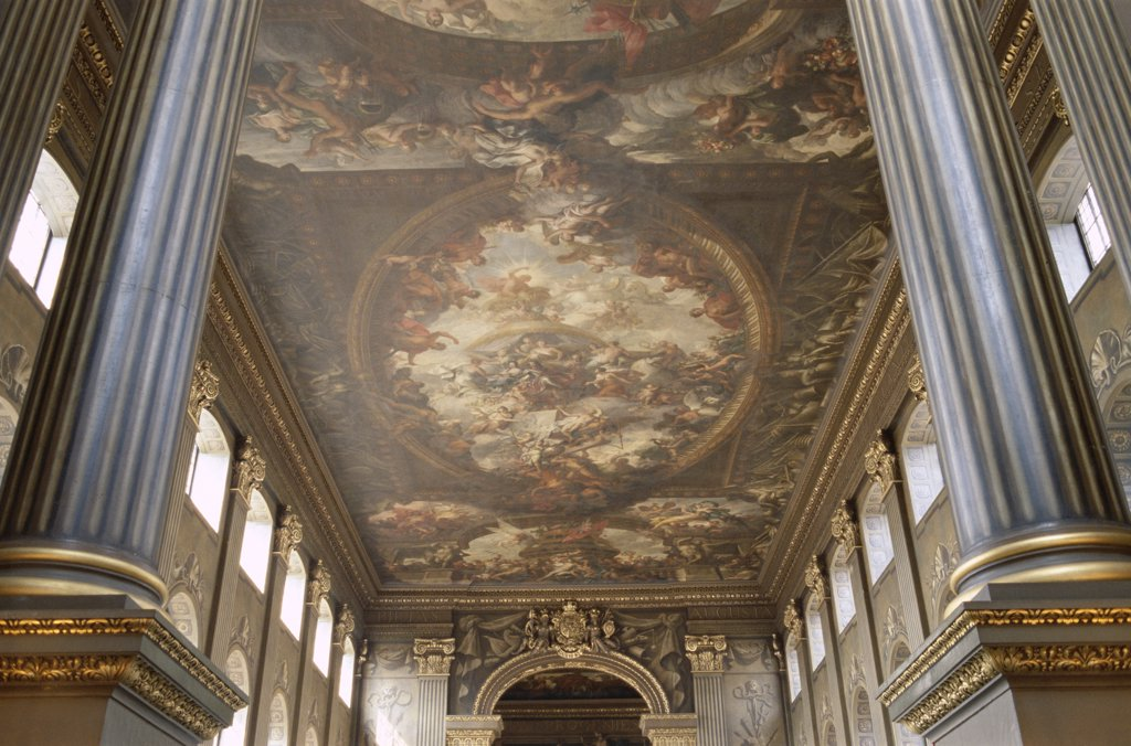Low angle view of the ceiling of a corridor, Painted Hall, Old Royal Naval College, Greenwich, London, England : Stock Photo