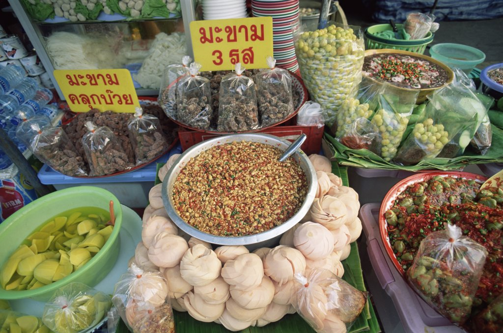 Stock Photo: 442-9735 High angle view of groceries at a market stall, Bangkok, Thailand