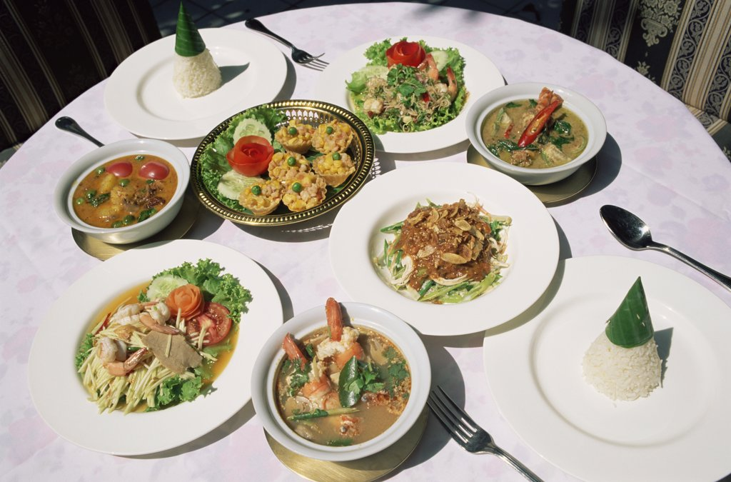 High angle view of a Thai meal on a table, Bangkok, Thailand : Stock Photo
