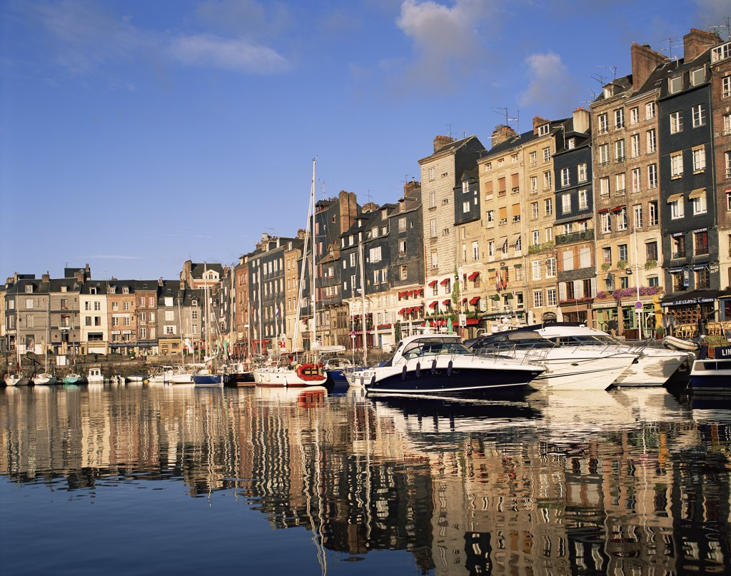 Stock Photo: 442-9870 Boats moored in a harbor, Honfleur, Normandy, France